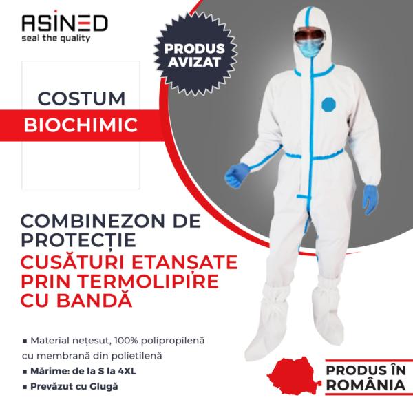 Combinezon de protectie biochimic, cusaturi etanse